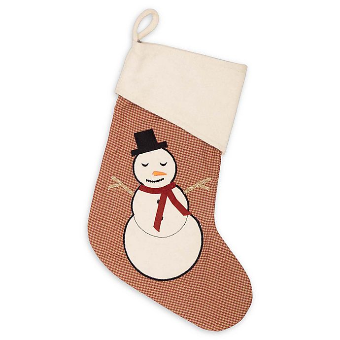 Alternate image 1 for VHC Brands Let It Snow 15-Inch Christmas Stocking in Red/Cream