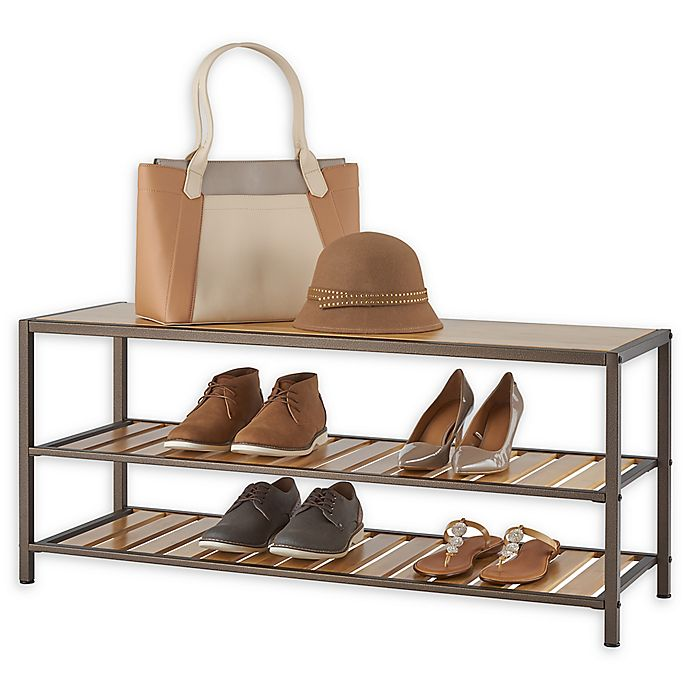 Alternate image 1 for Trinity 3-Tier Bamboo Shoe Bench