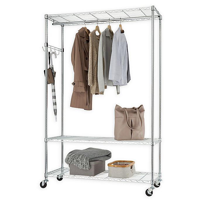 Alternate image 1 for Trinity EcoStorage™ 3-Tier Mobile Garment Rack in Silver