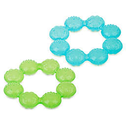 5aa1b84eb5272 Nuby™ IcyBite 2-Pack Soother Ring Teethers in Aqua Green