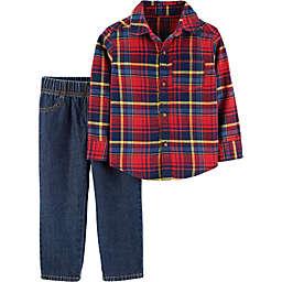 carter's® 2-Piece Plaid Shirt and Denim Pants Set