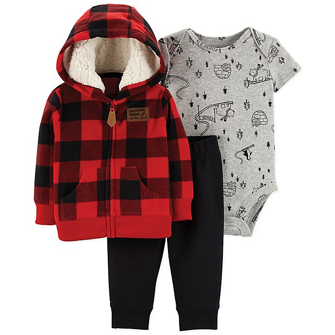 Alternate image 1 for carter's® Size 9M 3-Piece Buffalo Check Cardigan Set in Red