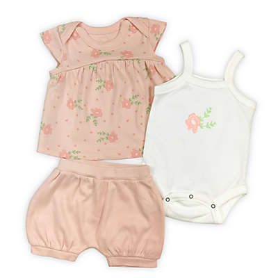 Finn by Finn & Emma® 3-Piece Rose Organic Cotton Bodysuit, Top and Short Set