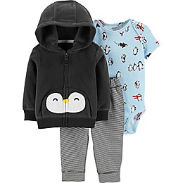 carter's® 3-Piece Penguin Hooded Jacket, Bodysuit, and Pant Set in Black