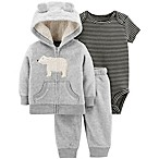 carter's® Size 9M 3-Piece Polar Bear Hooded Jacket, Bodysuit, and Pant Set in Grey