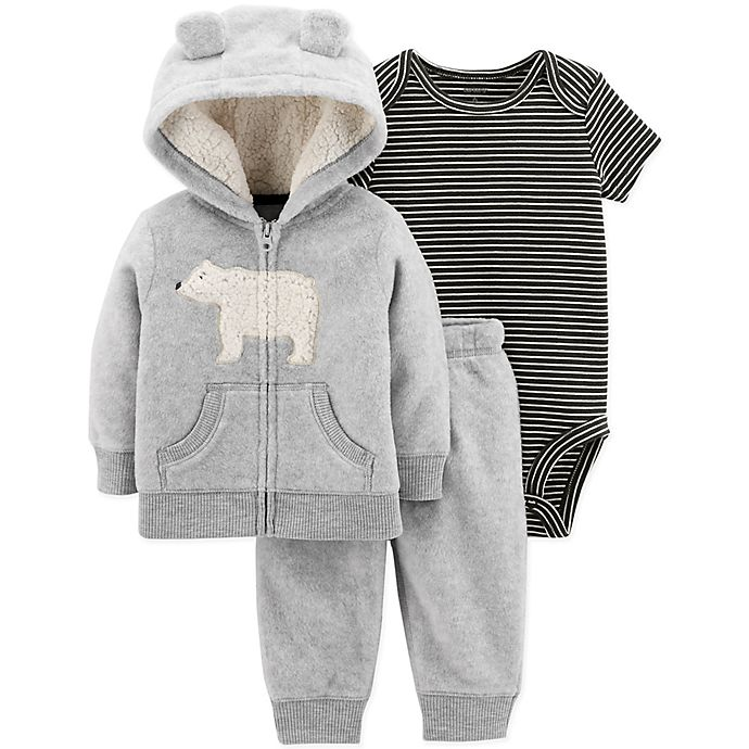908e0d0deb630 carter's® Size 18M 3-Piece Polar Bear Hooded Jacket, Bodysuit, and Pant Set  in Grey