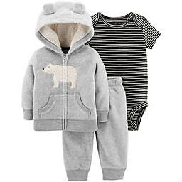 carter's® 3-Piece Polar Bear Hooded Jacket, Bodysuit, and Pant Set in Grey