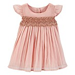 OshKosh B'gosh® Size 0-3M 2-Piece Pleated Lace Dress and Diaper Cover Set in Blush