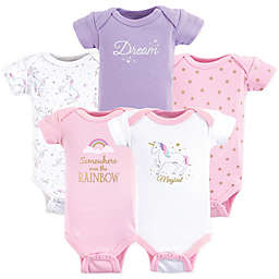 Hudson Baby Preemie Magical Unicorn Bodysuits in Purple (Set of 5)