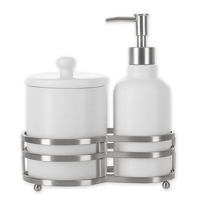 Alternate image 1 for Anaheim 3-Piece Ceramic Lotion Dispenser and Cotton Jar Set with Caddy in White/Chrome