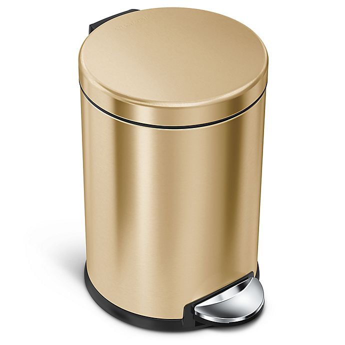Alternate image 1 for simplehuman® Round 4.5-Liter Step Can in Brass