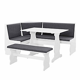 Linon Home Loren 3-Piece Dining Nook in White/Charcoal