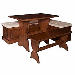 Linon Home Eldon 3-Piece Wooden Nook in Walnut