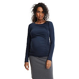 Stowaway Collection Solid Maternity Top in Navy