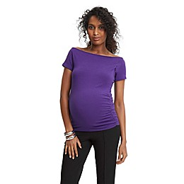 Stowaway Collection Maternity Off-the-Shoulder Top in Purple