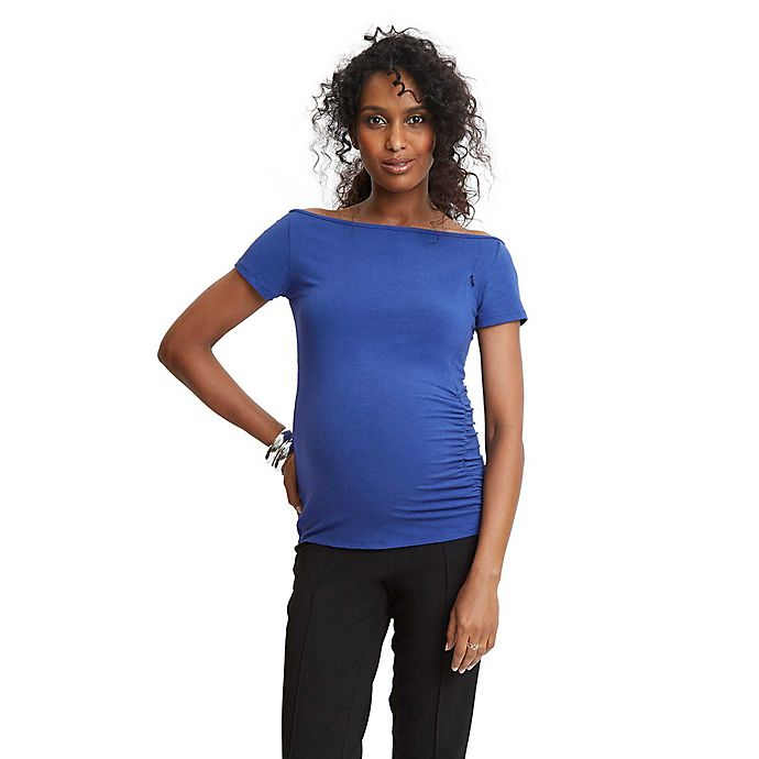 Alternate image 1 for Stowaway Collection Maternity Off-the-Shoulder Top in Blue