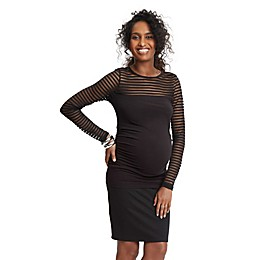 Stowaway Collection Shadow Stripe Maternity Top