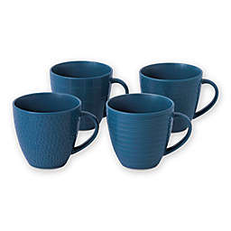 Gordon Ramsay by Royal Doulton® Maze Grill Dinnerware Mugs in Hammered Blue (Set of 4)