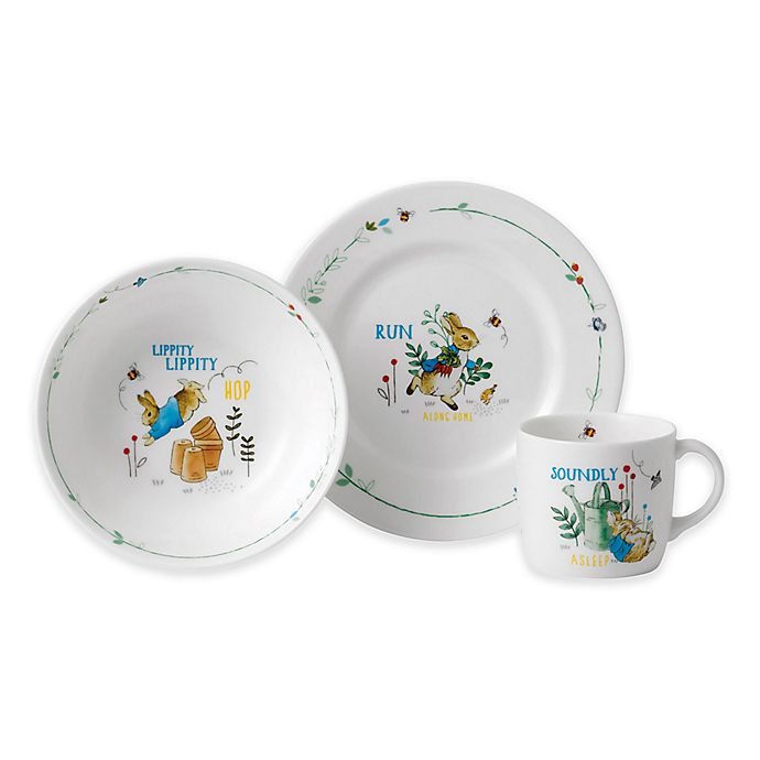 Alternate image 1 for Wedgwood® Peter Rabbit™ 3-Piece Nursery Place Setting in Blue