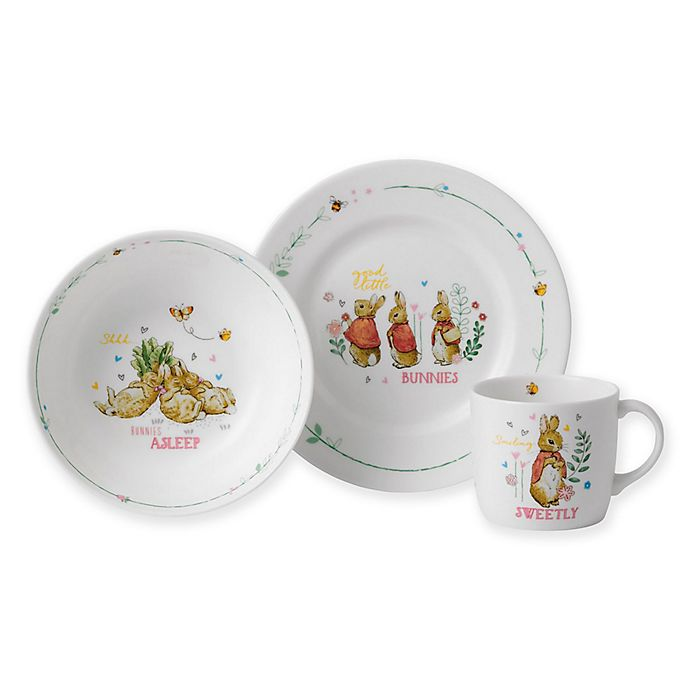 Alternate image 1 for Wedgwood® Peter Rabbit™ 3-Piece Nursery Place Setting in Pink