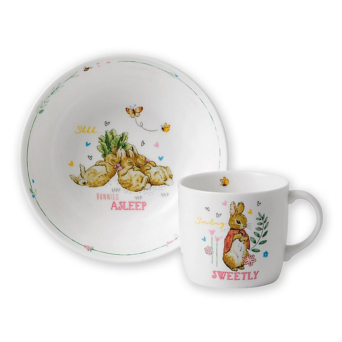 Alternate image 1 for Wedgwood® Peter Rabbit™ 2-Piece Nursery Place Setting in Pink