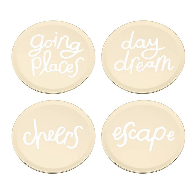 Alternate image 1 for kate spade new york All that Glistens™ Phrases Coasters in Rose Gold (Set of 4)