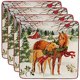 Certified International Christmas on the Farm Susan Winget Dinner Plates (Set of 4)
