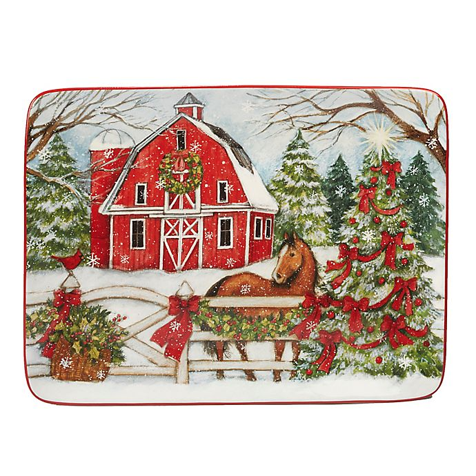 Certified International Christmas on the Farm Susan Winget Rectangular Platter