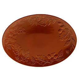 Certified International Acorn Oval Platter in Pumpkin