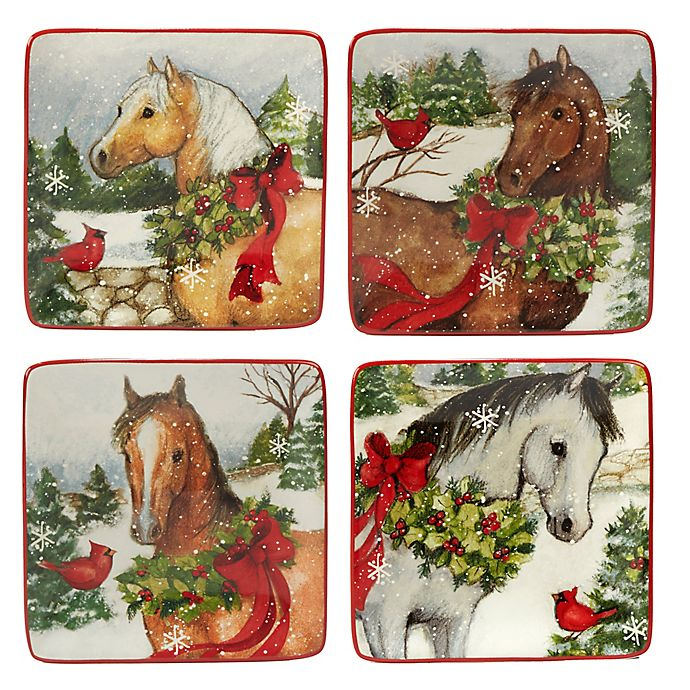 Alternate image 1 for Certified International Christmas on the Farm Susan Winget Canape Plates (Set of 4)