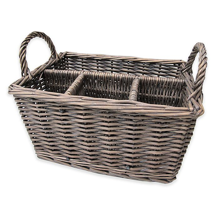 Alternate image 1 for Bee & Willow™ Home Wicker Flatware Caddy in Grey