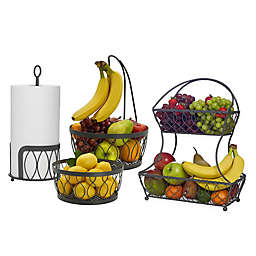 Gourmet Basics by Mikasa® Fruit Basket and Paper Towel Holder Collection in Vintage Grey