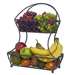 Gourmet Basics by Mikasa® Loop and Lattice 2-Tier Flat Back Fruit Basket in Vintage Grey