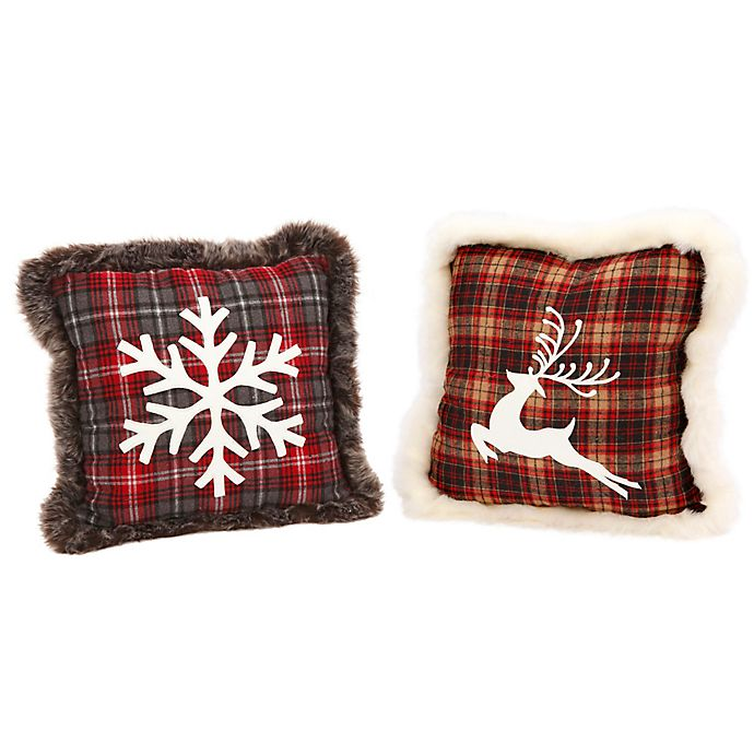 Alternate image 1 for Gerson Snowflake/Reindeer Square Throw Pillows in Red Plaid (Set of 2)