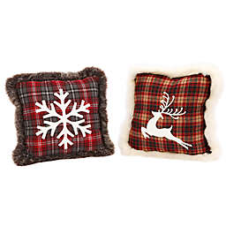 Gerson Snowflake/Reindeer Square Throw Pillows in Red Plaid (Set of 2)
