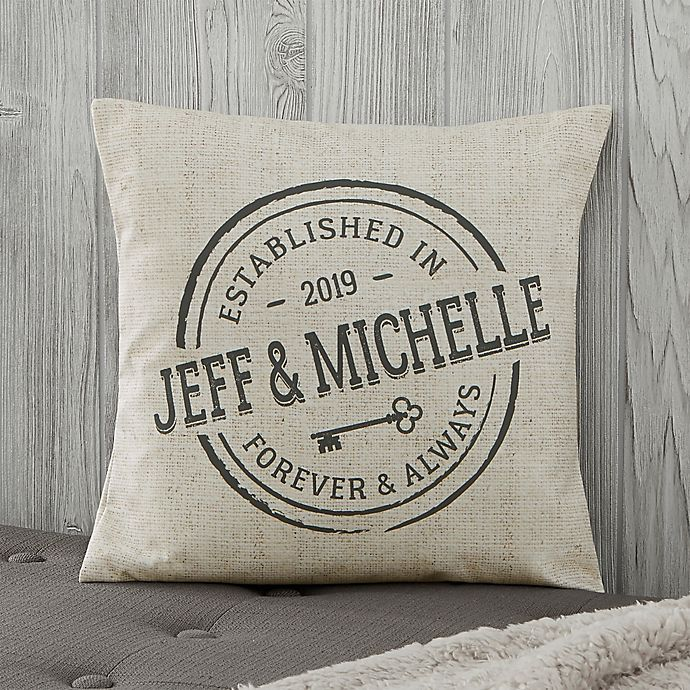 Alternate image 1 for Personalized Established Throw Pillow