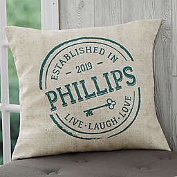 Personalized Established 18-Inch Throw Pillow