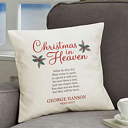 Personalized Christmas In Heaven Throw Pillow
