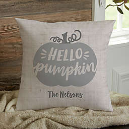 Personalized Hello Pumpkin Throw Pillow