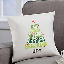 Personalized Christmas Family Tree Throw Pillow
