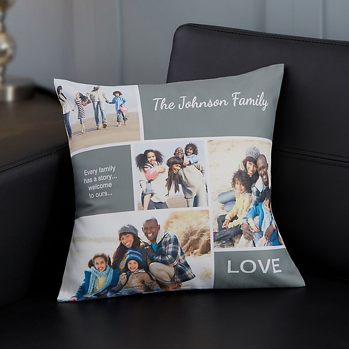 Alternate image 1 for Personalized Family Love Photo Collage Throw Pillow
