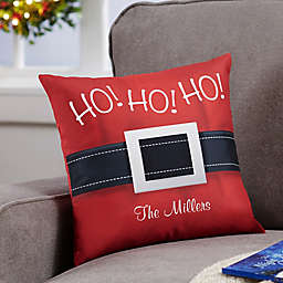 Personalized HO! HO! HO! Santa Belt Throw Pillow