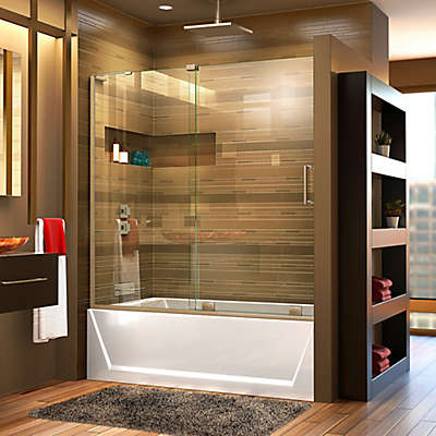 "DreamLine Mirage-X 56-60"" W x 58"" H Frameless Tub Door, Left Wall Installation"