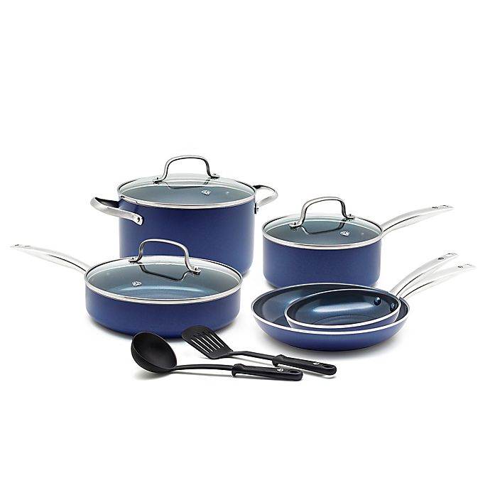 Alternate image 1 for Blue Diamond™ Ceramic Nonstick 10-Piece Cookware Set in Blue