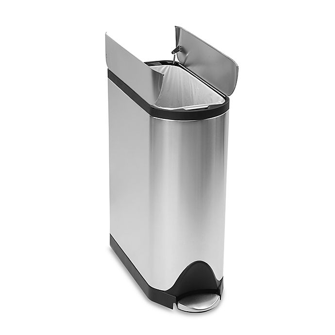 Alternate image 1 for simplehuman® Brushed Stainless Fingerprint-Proof Butterfly 45-Liter Step Trash Can Black