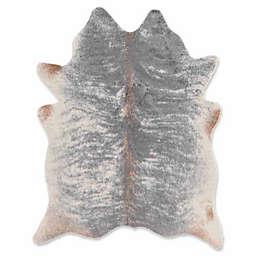 Linon Home Faux Cowhide 5'x 6'6 Area Rug in Grey
