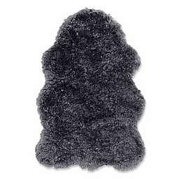 Linon Home Faux Sheepskin Rug in Charcoal Grey