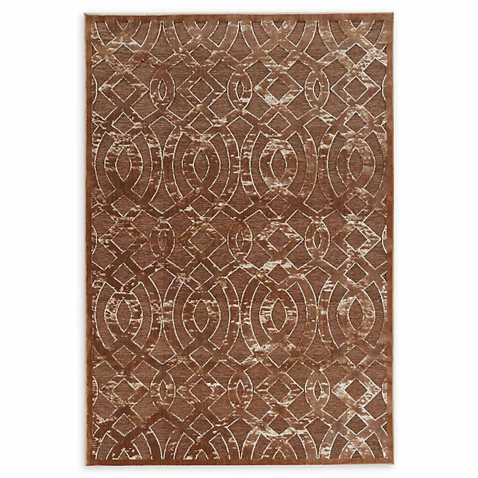 Alternate image 1 for Linon Home Hi Lo Plateau Trellis 5' x 8' Area Rug in Brown