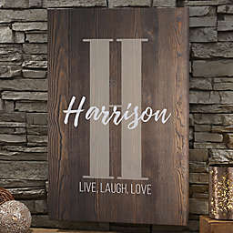 Personalized Farmhouse Initial Accent Canvas Print