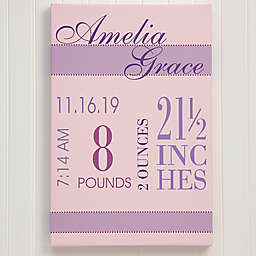 Personalized Baby's Big Day Canvas For Girls